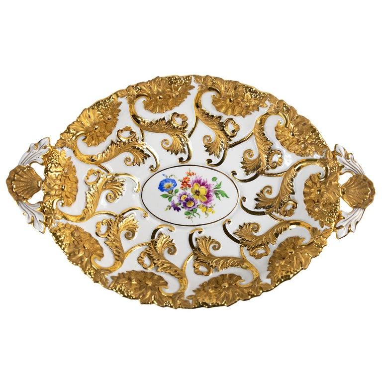 Meissen Porcelain Deep Cabinet Plate / Bowl with Handles For Sale