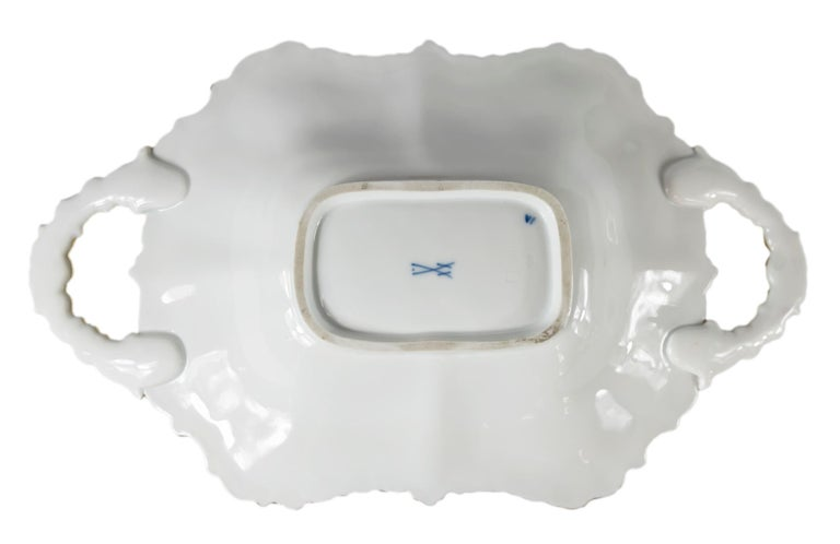Meissen Porcelain Deep Cabinet Plate with Handles For Sale 1