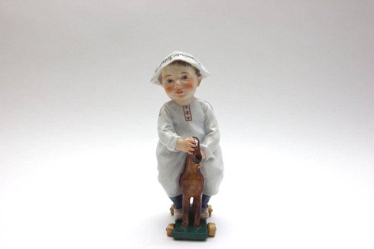 Art Nouveau Meissen Porcelain Figure Hentschelkind Child on Horse For Sale