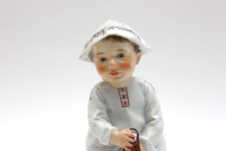 German Meissen Porcelain Figure Hentschelkind Child on Horse For Sale