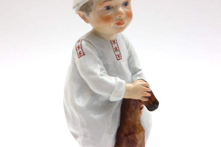 Meissen Porcelain Figure Hentschelkind Child on Horse In Good Condition For Sale In Berlin, DE
