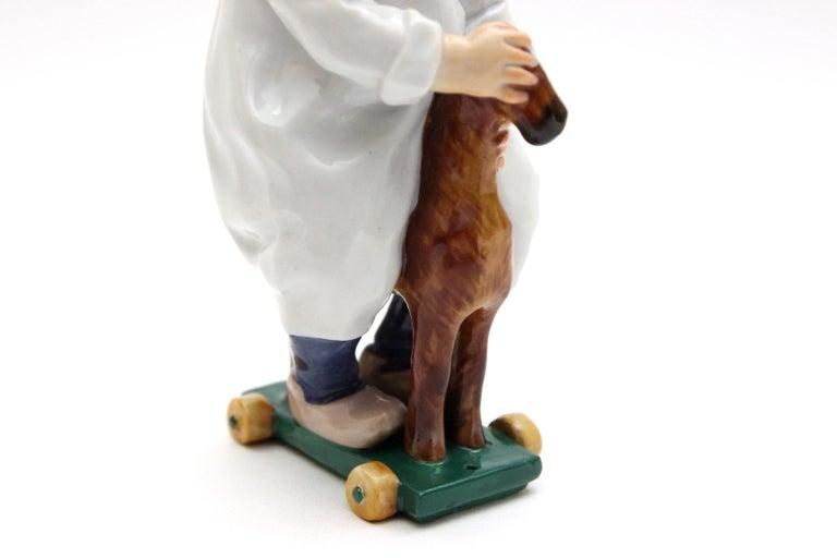 20th Century Meissen Porcelain Figure Hentschelkind Child on Horse For Sale