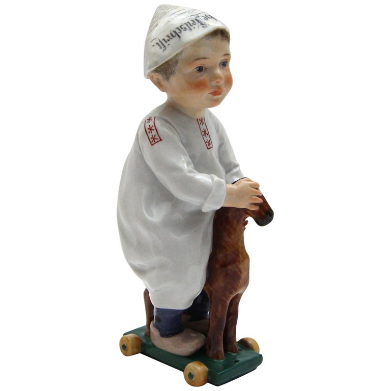 Meissen Porcelain Figure Hentschelkind Child on Horse For Sale