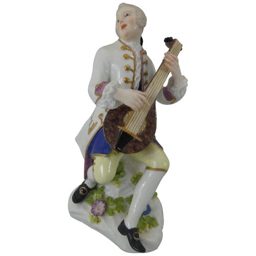 Meissen Porcelain Figure of a Lute Player, Paul Reinicke, circa 1740