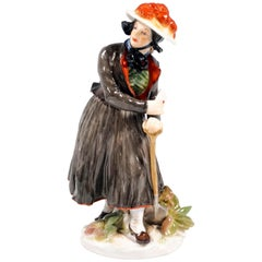 Meissen Porcelain Figure 'Peasant Woman From Baden' by Hugo Spieler, Around 1900