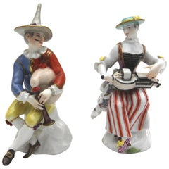 Meissen Porcelain Figures Harlequin with Bagpipe and Tyrolean with Hurdy-Gurdy