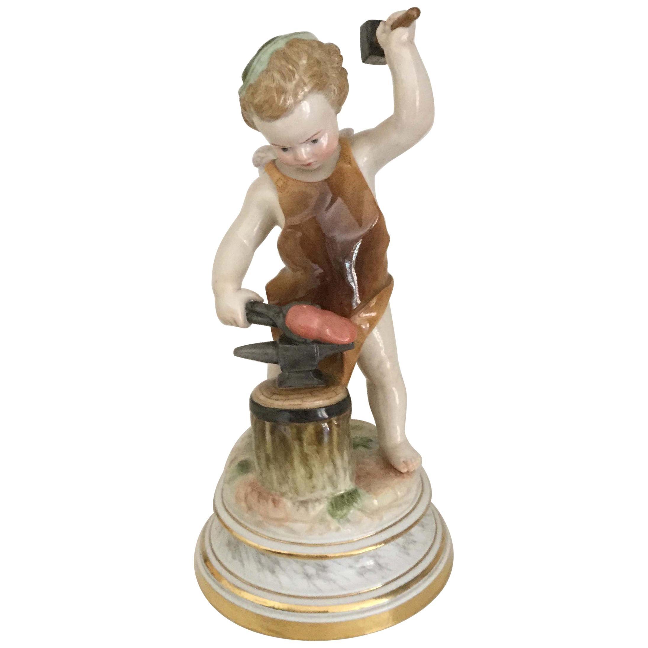 Meissen Porcelain Figurine Cupid Blacksmith, 19th Century