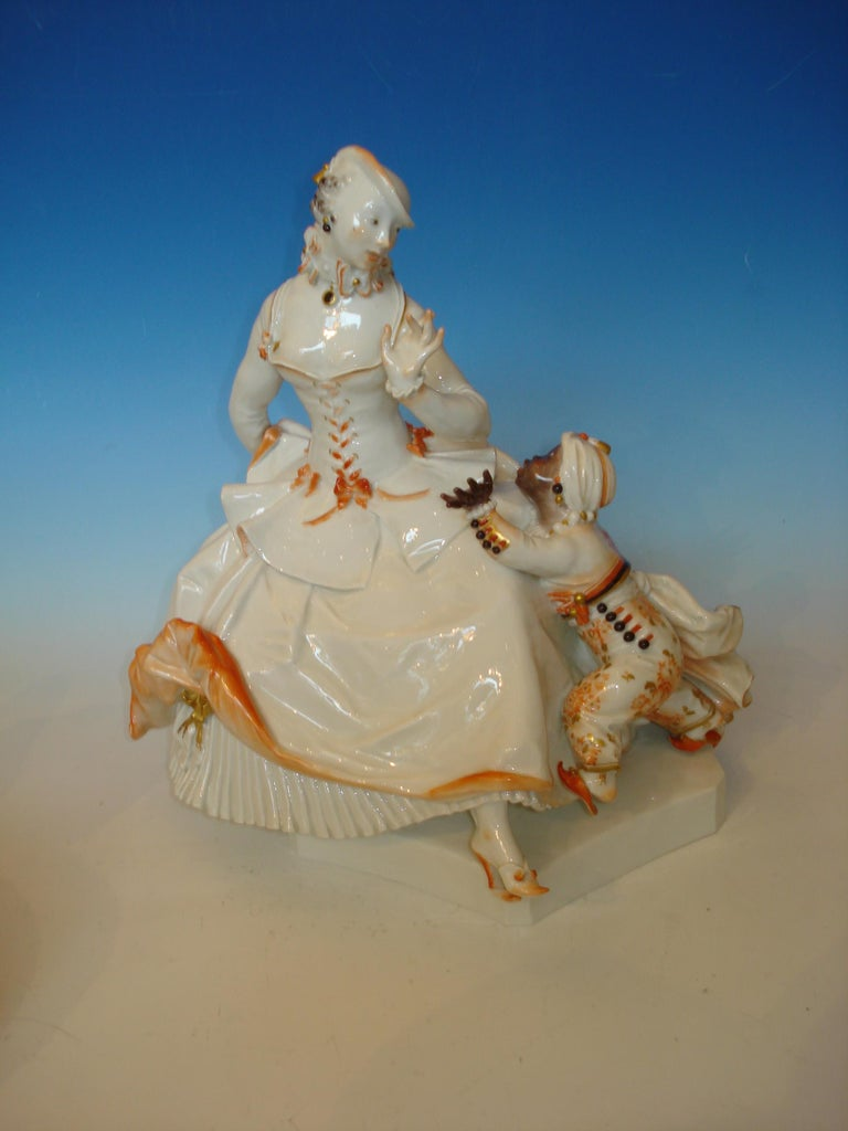 Art Deco figurine group. Design: Paul Scheurig, 1919 ( New York 1883–1945 Brandenburg ). Execution: Meissen Porcelain Factory, Germany ca. 1920-1921. Porcelain, white glaze, polychrome and gold paint. To the side of the base inscribed: Scheurich 19.