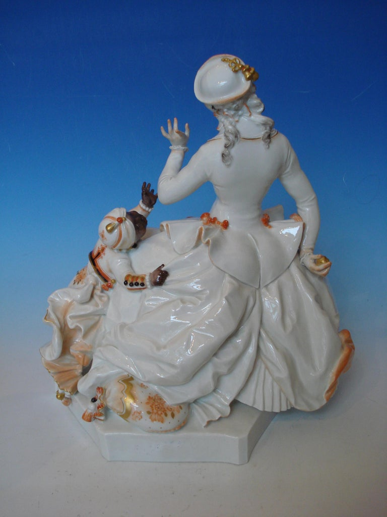Art Deco Meissen Porcelain Figurine Rococo Lady with a Moor, by Paul Scheurich For Sale