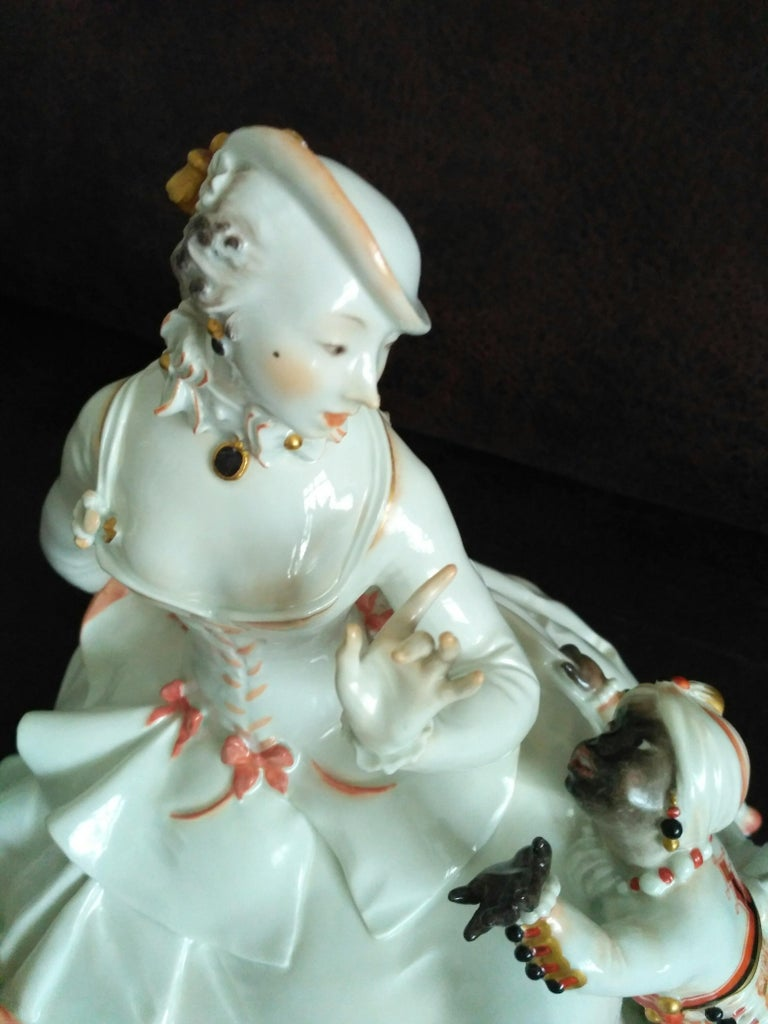 German Meissen Porcelain Figurine Rococo Lady with a Moor, by Paul Scheurich For Sale