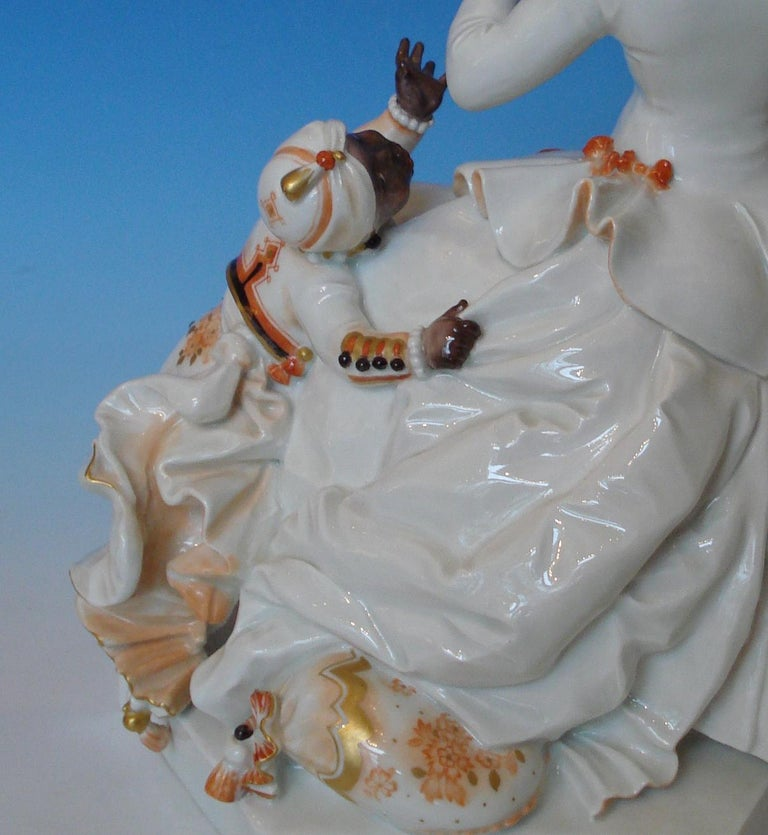 Painted Meissen Porcelain Figurine Rococo Lady with a Moor, by Paul Scheurich For Sale
