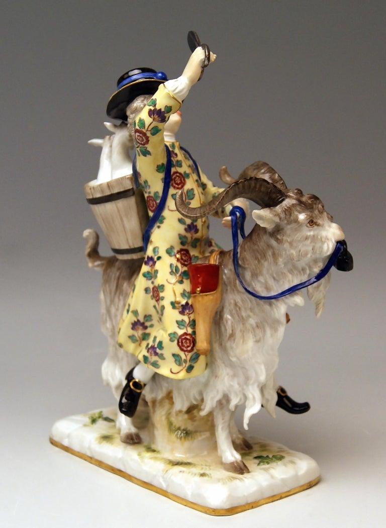 Meissen gorgeous figurine: Tailor Riding on Goat. Dating: made 19th century (circa 1870) Material: white porcelain, glossy finish, finest painting  Technique: handmade porcelain  Designer: Johann Joachim Kaendler(1706 - 1775) / he was chief
