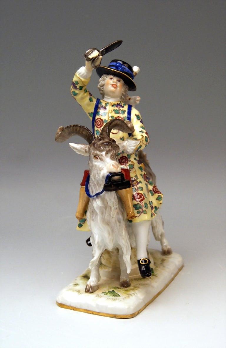 Rococo Meissen Porcelain Figurine Tailor Riding on Goat by Kaendler Model 171 For Sale