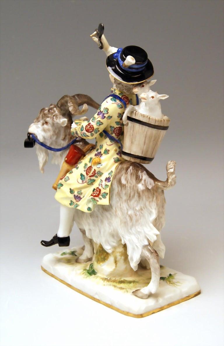 German Meissen Porcelain Figurine Tailor Riding on Goat by Kaendler Model 171 For Sale