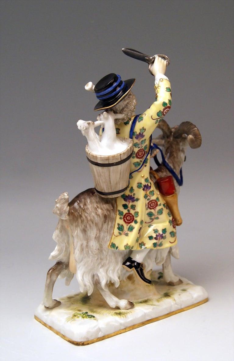 Painted Meissen Porcelain Figurine Tailor Riding on Goat by Kaendler Model 171 For Sale