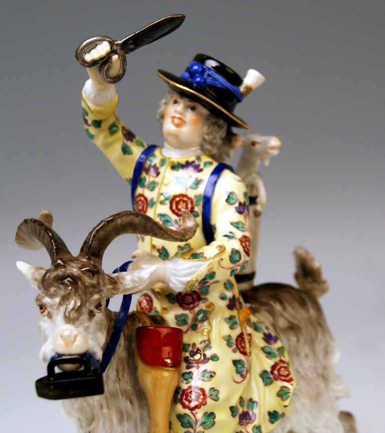 Meissen Porcelain Figurine Tailor Riding on Goat by Kaendler Model 171 In Good Condition For Sale In Vienna, AT