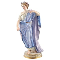 Meissen Porcelain Figurine, Woman in Blue Robes with Floral Wreath in Her Hair