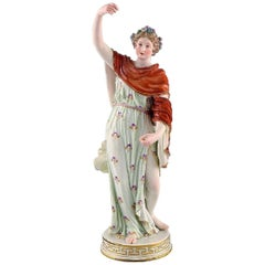 Meissen Porcelain Figurine, Woman in Colorful Dress with Floral Wreath
