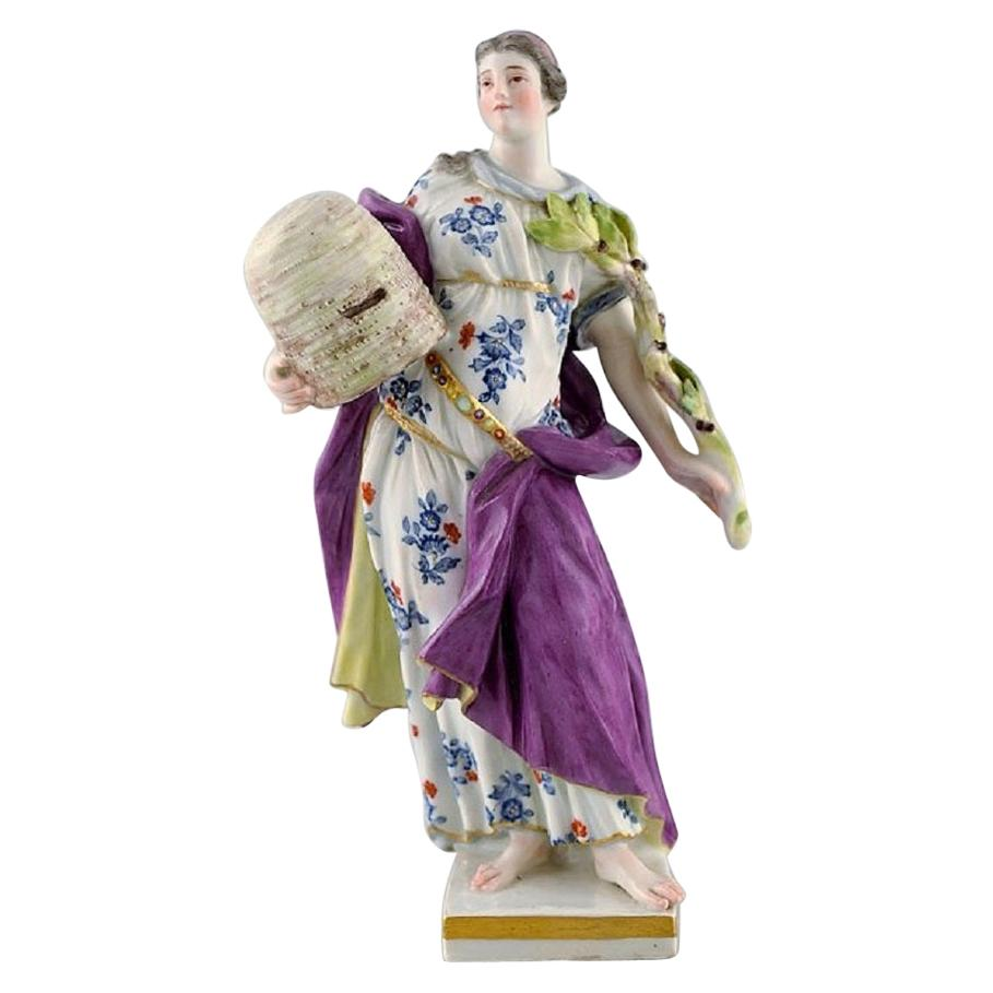 Meissen Porcelain Figurine, Woman in Dress with Branches, circa 1900