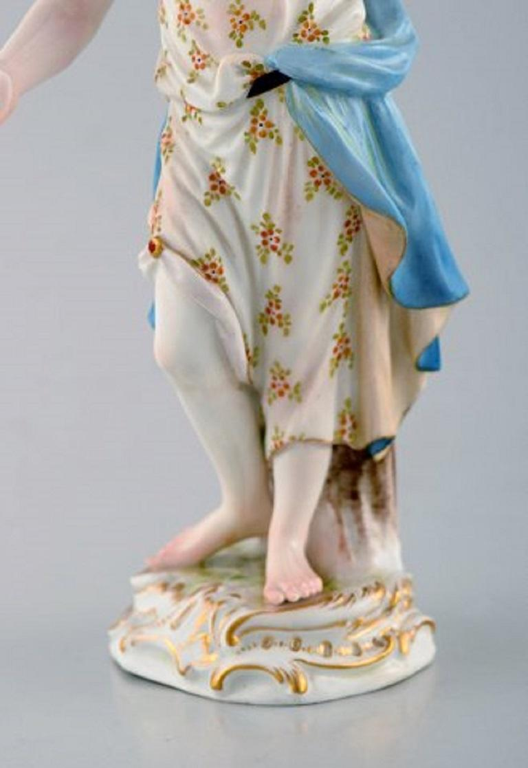 Rococo Meissen Porcelain Figurine, Woman in Dress with Flowers, circa 1900 For Sale