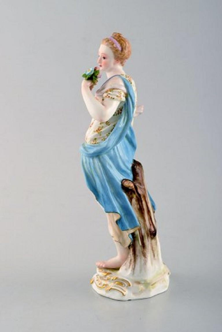 German Meissen Porcelain Figurine, Woman in Dress with Flowers, circa 1900 For Sale