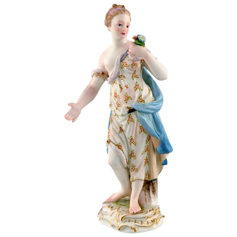 Meissen Porcelain Figurine, Woman in Dress with Flowers, circa 1900 For Sale