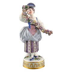 Meissen Porcelain Figurine, Woman in Purple Dress with Flowers, circa 1900