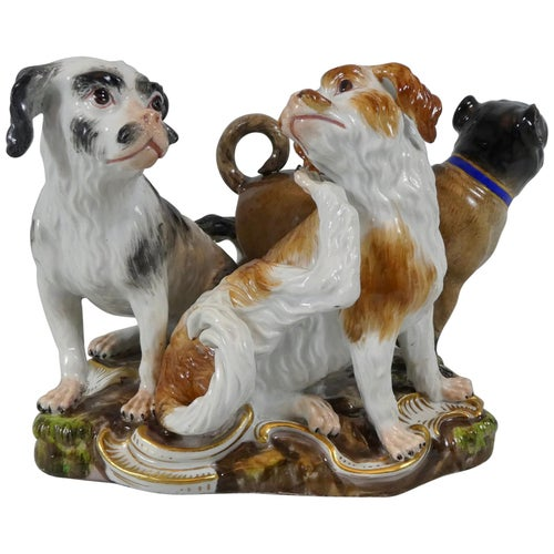 Meissen Porcelain Group of Dogs, circa 1860