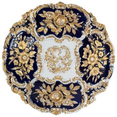 Meissen Porcelain Hand Painted and Gilded Cobalt Blue Deep Plate