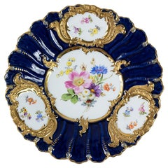 Meissen Porcelain Hand Painted and Gilded Cobalt Blue Plate