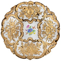 Meissen Porcelain Hand Painted and Gilded Deep Plate