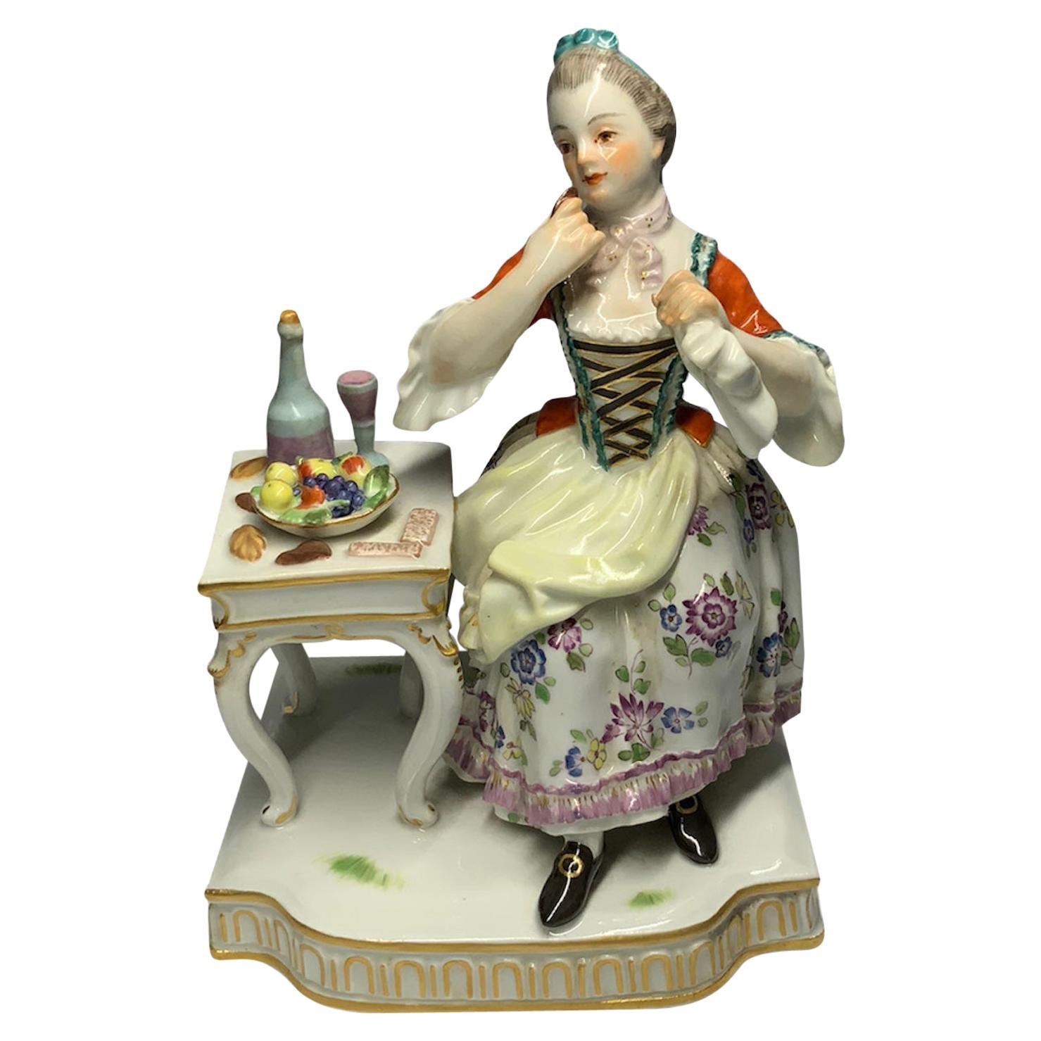 Meissen Porcelain Lady Figurine Enjoying a Meal