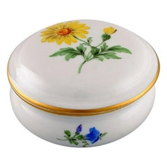 Meissen Porcelain Lidded Jar with Hand-Painted Flowers and Gold Edge