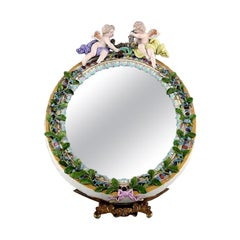 Meissen Porcelain Mirror, Decorated with Angels and Repousse Flowers, circa 1900
