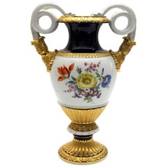 Meissen Porcelain Ornamental Vase with Flower and Rich Goldpainting