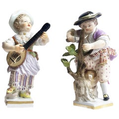 Meissen Porcelain, Pair of Mandolin Player & Woodcutter Figurines, ca. 1860's