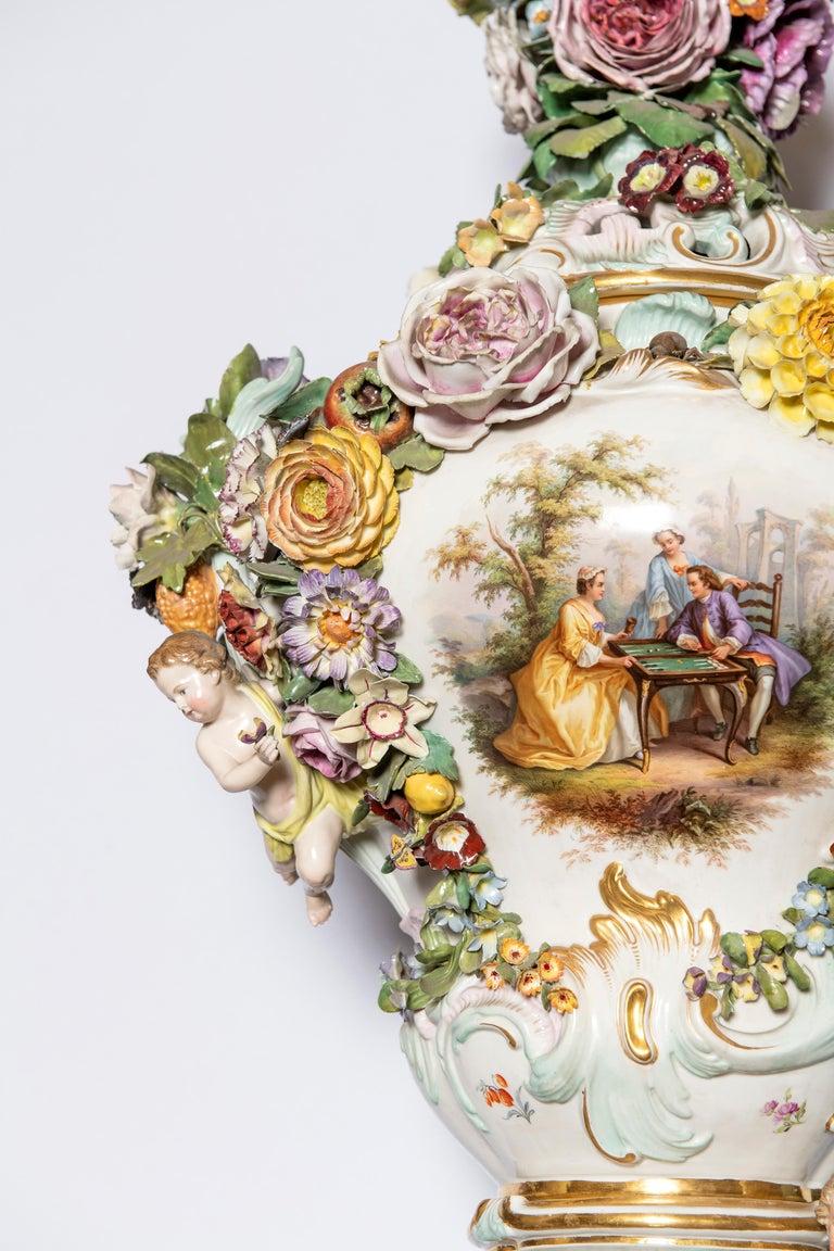 Rococo Meissen Porcelain Pot-Pourri Vase, Germany, 19th Century For Sale