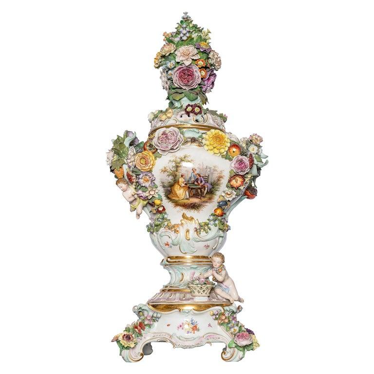 Meissen Porcelain Pot-Pourri Vase, Germany, 19th Century For Sale