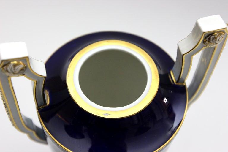Meissen Porcelain Potpourri - Vase in Cobalt Blue and Gold For Sale 5
