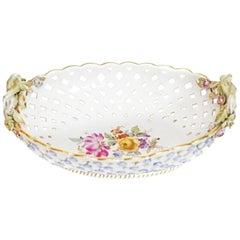 Meissen Porcelain Reticulated Two-Handled Basket