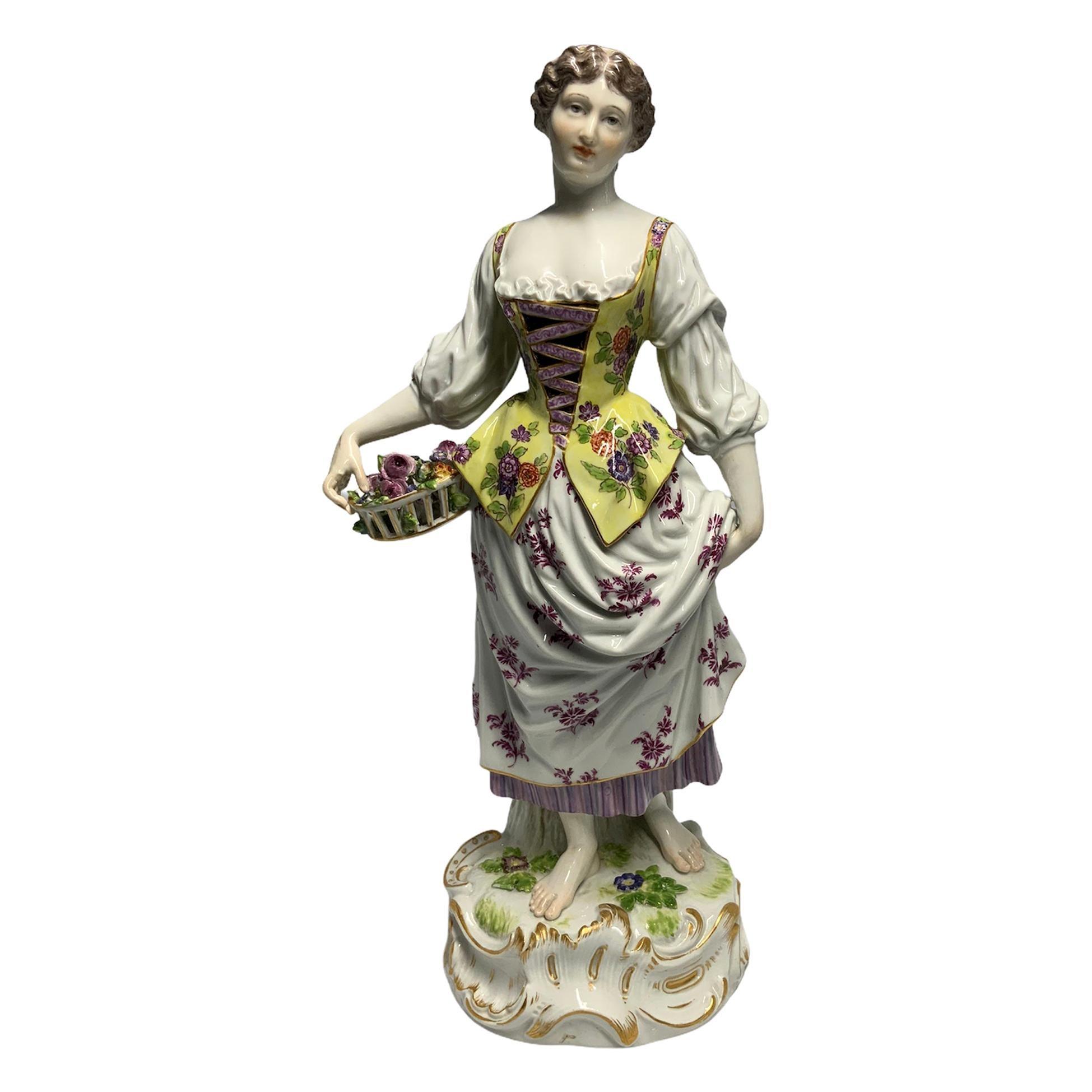Meissen Porcelain Shepherdess Sculpture