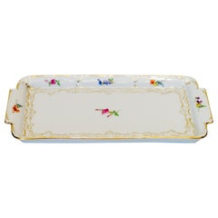 Meissen Porcelain Square Platter Tray with Floral Painting and Gold Rim