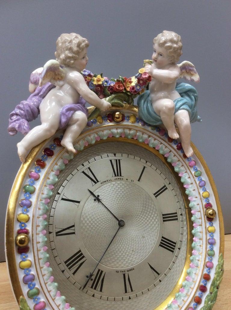 Victorian Meissen Porcelain Strut Mantel Clock For Sale