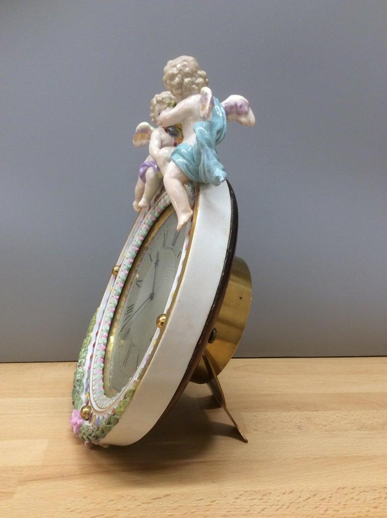 English Meissen Porcelain Strut Mantel Clock For Sale