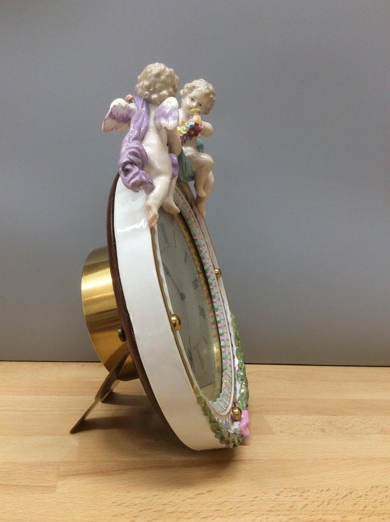 Late 19th Century Meissen Porcelain Strut Mantel Clock For Sale
