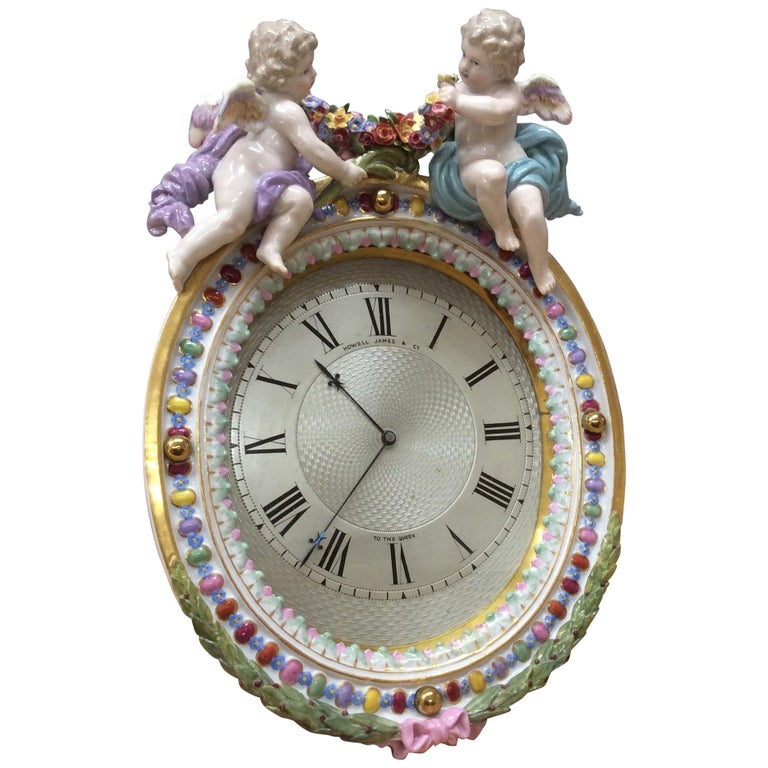 Meissen Porcelain Strut Mantel Clock For Sale