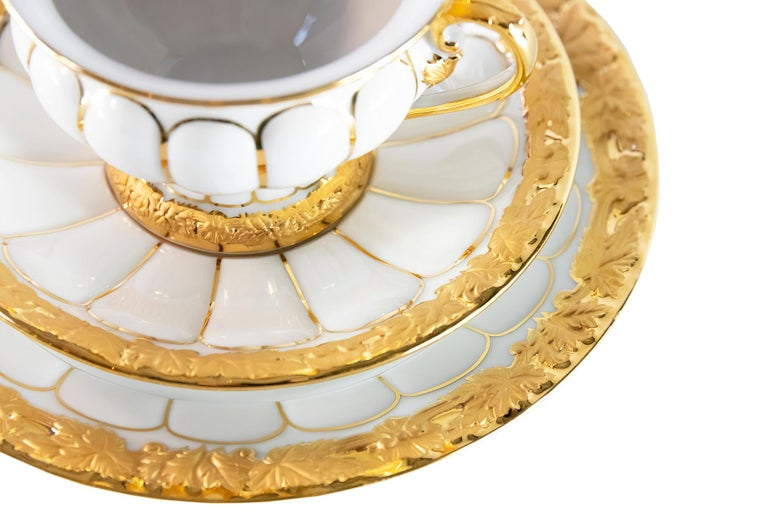 Gilt Meissen Porcelain Tea Cup with Saucer and Dessert Plate For Sale