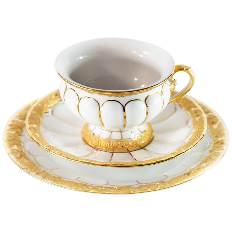 Meissen Porcelain Tea Cup with Saucer and Dessert Plate For Sale