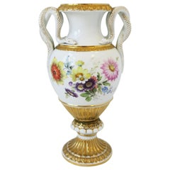 Meissen Porcelain Urn White and Gold with Amphora Snake Handles