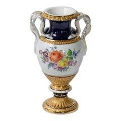 Meissen Porcelain Vase with Snake Handles
